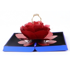 Unique Pop Up Rose Wedding Rings Box Surprise Jewelry Storage Holder Valentine's day Gift Boxes blue 12*6.8*2cm