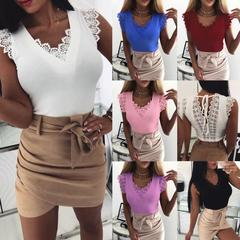 Hot Women Sexy Bind Vest Lace Tops Ladies Camisole Tank Sleeveless V-Neck Slim T-Shirt Women Tops wine red s