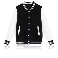 Men Fashion Patchwork Baseball Jacket  Brand New Men Jackets Women Coats Couple's Jackets black m