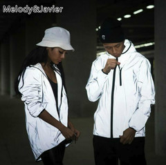 New Full Reflective Jacket Men/Women Harajuku Windbreaker Jackets Hooded Hip-hop Night Shiny Coats solid gray m