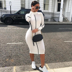 New Fashion Women Long Sleeve Dresses Office Work Dress Elegant Bodycon Party Dress s white