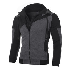 Men Sports Casual Wear Zipper Fashion Hoodies Fleece Jacket Fall Sweatshirts Coats black m
