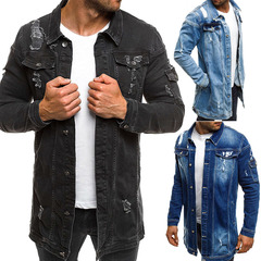 Men Cowboy CoatsHigh Quality Autumn Style Beggar Hole Denim Jacket Loose Thin Sleeve Cowboy Jackets black m