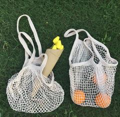 Ins Hot Mesh Net Turtle Bag String Shopping Bags Reusable Fruit Storage Handbag Totes Women Mesh Bag white 32*35CM*10CM