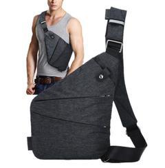 Men Travel Business Fino Bag Burglarproof Shoulder Bags Anti Theft Security Strap Storage Chest Bags right shoulder 31*19*1.5cm