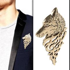 1Pc Charming Vintage Men Punk Wolf Badge Brooch Lapel Pin Shirt Suit Collar Jewelry Gift Men gold 5.4*3.2cm
