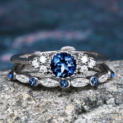 2Pcs/Set Rings New Luxury Stone Crystal Rings Women Sliver Color Wedding Engagement Fashion Jewelry blue 6