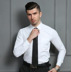 Men Shirt Long Sleeve Casual Male Brand Shirts Slim Fit Office Work Dress Shirts white 37(165/80A)