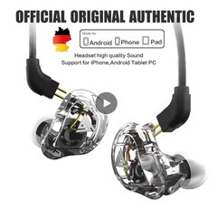 New QKZ VK1 4DD In Ear Earphone HIFI DJ Monito Running Sport Earphones Earplug Headset Earbuds transparent