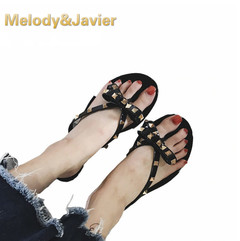 Ins Hot Summer New Fashion Rivet Bow Flat Flip Flops Women Wear Cool Slippers Jelly Shoes Women black 36