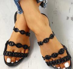 Women Summer Flat Slippers Chain Beach Shoes Casual Gladiator Flip Flops New Fashion Ladies Slip on black 36