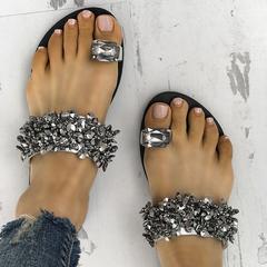 New Women Casual Flat Slippers Flip Flops Female Crystal Outside Shoes Women Footwear silver diamond 36