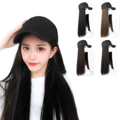 Ins Hot 23.6'' Stealth Long Straight Wigs&Baseball Hat One Wig Women Long Curly Wigs Cap Wigs black straight hair 23.6inch