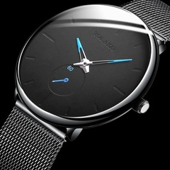 Men Classic Wristwatch Alloy Mesh Belt Ultra Thin Watches Business Leather Quartz Watches Gifts black blue mesh belt 38mm