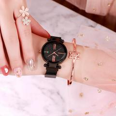 Luxury Rose Gold Women Watch Magnet Starry Sky Wrist Watches For Ladies Women Wristwatch Gift black 34mm