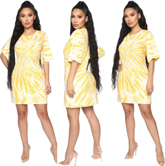 Multicolored Tie-dye Printing Women Bodycon Dresses Summer Casual Short Sleeves Fashion Loose Dress s yellow