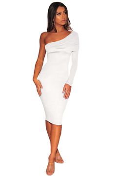 Off Shoulder Dresses Fashion Long Sleeve Sexy Bodycon Dress Club Long Dress Party Vestido s white