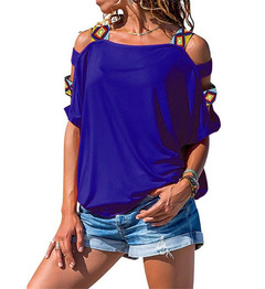 Hot Sale Women Bare Shoulder T Shirt Vintage Boho Print Tunic Loose T-shirt Short Sleeve Tees Tops blue s