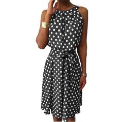 Ruffles Polka Dot Dress Women Sexy Off Shoulder Dresses Bohemian Beach Dress Ladies Sundress s gray