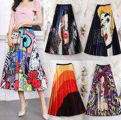 New Fashion High Waist Pleated Skirt Women Midi Skirts Elastic Waist A Line Long Skirts Women Dress 2 free size