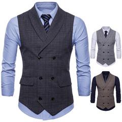 Brand Suit Vest Men Jacket Sleeveless Vintage Tweed Vest Fashion Spring Autumn Plus Size Waistcoat dark grey m