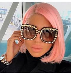 Ins Hot Shining Diamond Sunglasses Women Brand Design Flash Square Shades Female Mirror Sun Glasses Black&gray square
