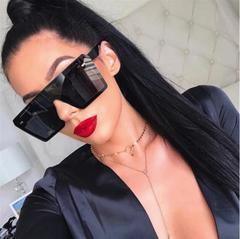 Oversize Square Sunglasses Women Fashion Flat Top Gradient Glasses Men One Piece Gafas Shade Mirror black&gray square