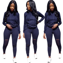 New Hot 2Pcs Set Hoodies Loose Hooded Tops Sweatshirt Solid Long Pants Women Suits Sport Tracksuit navy s