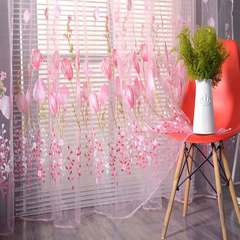 Window Decor Tulip Print Window Sheer Tulle Living Room Balcony Kitchen Flower Yarn Sheer Curtains pink 200*100cm