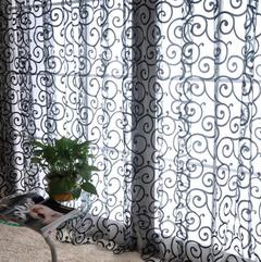 Window Curtains Sheer Voile Tulle Bedroom Living Room Balcony Kitchen Printed Tulip Pattern Curtains black w100*h200 cm