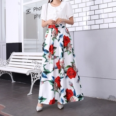 Skirts Women High Waist Pockets Long Skirts Vintage Chic Floral Printed Maxi Skirt Plus size Dresses 1090-1 white s