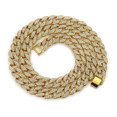 Iced Out Rhinestone Golden Finish Cuban Link Chain Necklace Men Hip Hop Necklace Bracelet Jewellry gold 20inch