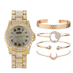 5Pcs/Set Luxury Women Watches Ladies Diamond Watch Bracelets Set Quartz Wristwatches gold normal