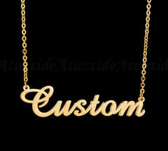 Customized Fashion Stainless Steel Name Necklace Personalized Letter Gold Choker Necklace Gift gold 40cm