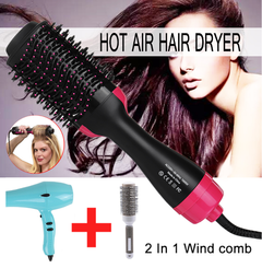 Pro One Step Hair Dryer Brush Volumizer 2 in 1 Straightener Hot Air Curling Iron Rotating Rollers black 38.7*11.1*9cm