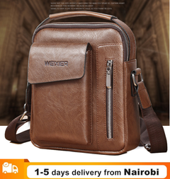Vintage Messenger Bags Men Shoulder Bags Leather Crossbody Bags Men Bags Retro Zipper Men Handbags light brown 24*20*6cm