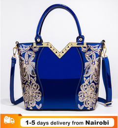 Handbag Women Embroidered Glossy Shoulder Bag Purse Female Luxury Handbags Lacquer PU Leather Bags blue as picture