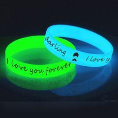 Unisex Led Silicone Rubber Bracelet Cuff Wristband Glow Flash Bangle Party Wrist Band Wedding Decor 1PCS GREEN 202mm*12mm