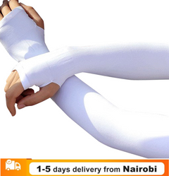 Ice Fabric Arm Sleeves Sports UV Protection Running Cycling Driving Reflective Sunscreen Bands white