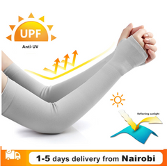 Ice Fabric Arm Sleeves Sports UV Protection Running Cycling Driving Reflective Sunscreen Bands gray
