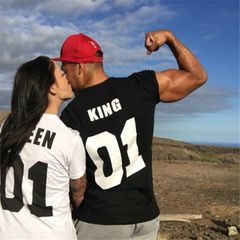 Couple Women T-shirts Printed Queen King Letter O Neck Short Sleeve Lovers Shirts white queen(1pc) m cotton&polyester