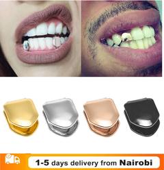 Gold Trendy Rock Rapper Hip Hop Grillz Caps Mold Top & Bottom Grill Body Jewelry Single Teeth gold 1cm*0.8cm