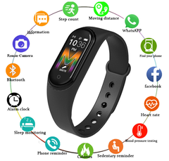M5 Smart Watches Bluetooth Smart Band Waterproof Heart Rate Blood Pressure Wristband Smart Bracelet black one size