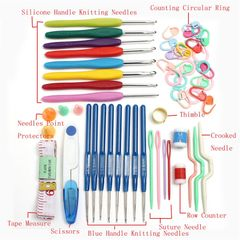 57 in 1 Full Set 16 Size Crochet Hooks Needles Stitches Knitting Craft Case Crochet Set Sewing Tools as picture as picture