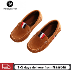 M&J Fashion Soft Boys Shoes PU Leather Kids Loafers Slip-on Children's Casual Sneakers Classic Shoes Brown 36