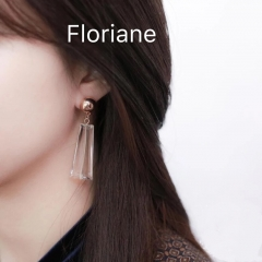Floriane Stylish Women New Acryhic Hyaine Trerd Earrings Brown and White Two Color Jewellery white see information below