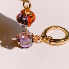 Floriane Women New Lucky Four Color Combination Earrings One Pair 18K Gold Surface Zircon Crystal see pictures normal size