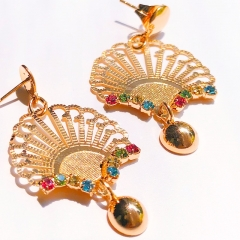 Floriane 18K Gold Women New  Fan-shaped Vintage Japanese Earrings One Pair  Zircon Crystal see pictures normal size