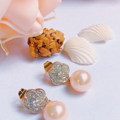 Floriane Women 18K Gold New Exquisitely Made Nude Pink Pearl Earrings One Pair  Zircon Crystal see pictures normal size