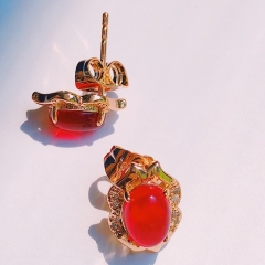 Floriane Women 18K Gold New Baroque Style Three Color Earrings Red One Pair Zircon Crystal see pictures normal size